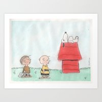 peanuts Art Prints featuring Peanuts by Smash Art