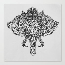 Tribal Elephant Head Canvas Print