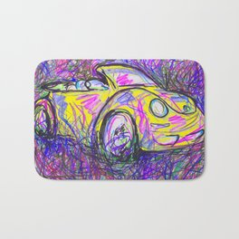 Expressive Bright Yellow V W Beetle created under the influence of Caffine by annmariescreations Bath Mat