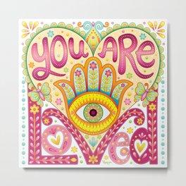 You are loved - Hamsa heart art by Thaneeya McArdle Metal Print