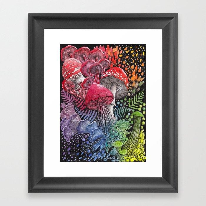 Rainbow Mushroom Composition | Watercolor Illustration Gerahmter Kunstdruck