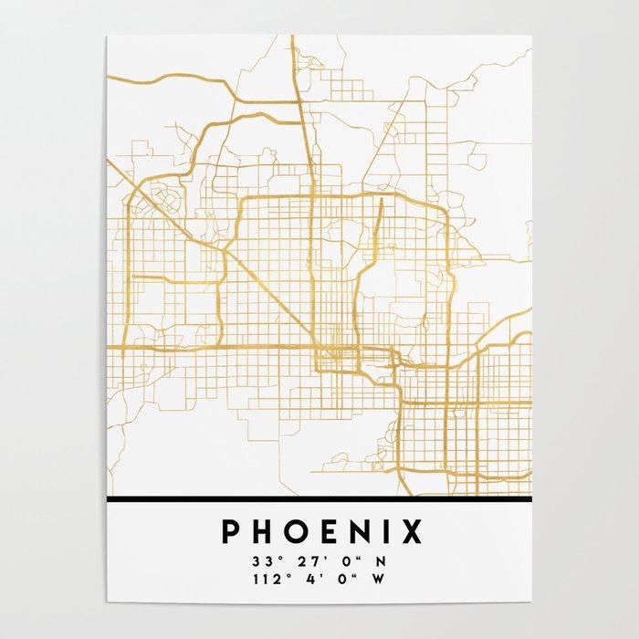 Map Of Just Arizona.Phoenix Arizona City Street Map Art Poster By Deificusart