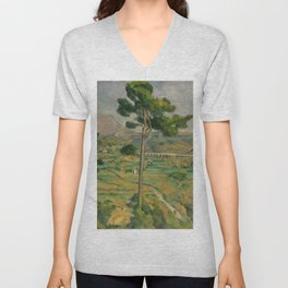 """Paul Cezanne """"Mountain Sainte-Victoire and the Viaduct of the Arc River Valley"""" Unisex V-Neck"""