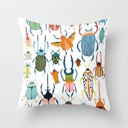Woodland Beetles Throw Pillow