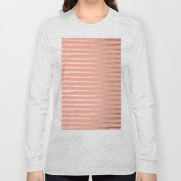 Abstract Stripes Gold Coral Pink Long Sleeve T-shirt