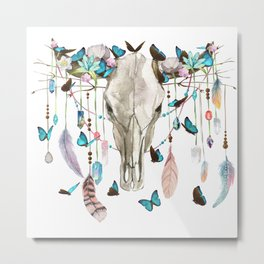 Butterfly Cow Skull Spirit Gazer Metal Print