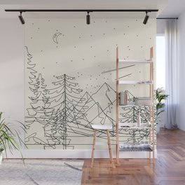 Minimal Line Mountain Beauty I Wall Mural