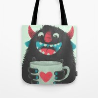 coffee Tote Bags featuring Demon with a cup of coffee by Lime