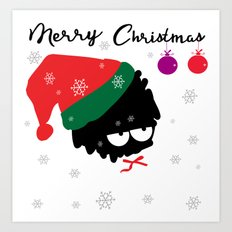 Merry Chrstmaslittle Santa Art Print