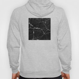 Black Suede Marble With White Lightning Veins Hoody