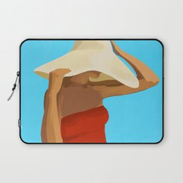 At The Beach: Red Suit Laptop Sleeve