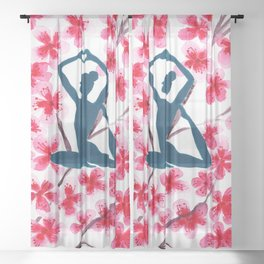 Yoga Pose with Blooming Cherry Blossoms Sheer Curtain