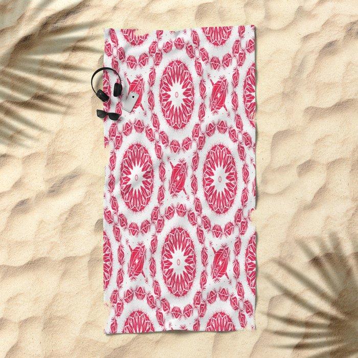 Ruby Mandala Tile Beach Towel