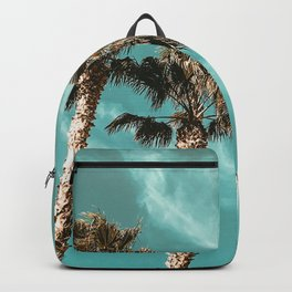 Tropical Palm Tree Photography {1 of 2} | Teal Blue Sky Wind Blown Clouds Backpack