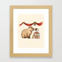 Capy Holidays - Under the Mistletoe Framed Art Print