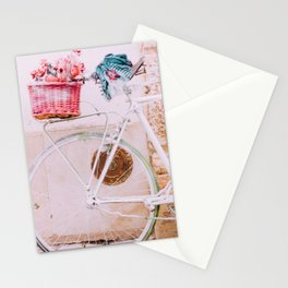 White Bike, Pink Basket Stationery Cards