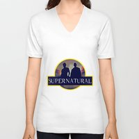 supernatural V-neck T-shirts featuring Supernatural  by amirshazrin