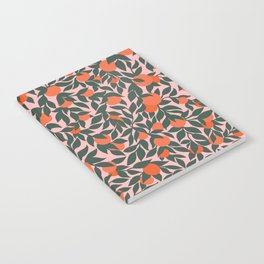 Oranges and Leaves Pattern - Pink Notebook