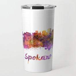 Spokane skyline in watercolor Travel Mug
