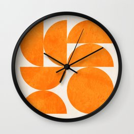 Geometric Shapes orange mid century Wall Clock