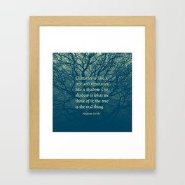 Tree of Character VINTAGE BLUE / Deep thoughts by Abe Lincoln Framed Art Print