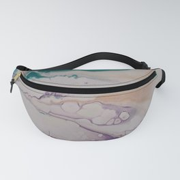 Marbled Pastel Flows in Peach and Teal - Abstract Art by Fluid Nature Fanny Pack