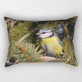 Blue tit resting on a branch conifer Rectangular Pillow