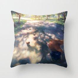Corgi road shadow Throw Pillow