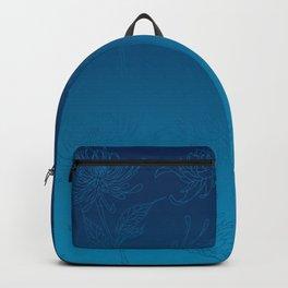 Ombre Ocean Blue Dahlia Flowers Backpack