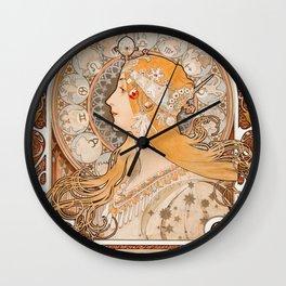 Alphonse Maria Mucha - Zodiaque or La Plume Wall Clock