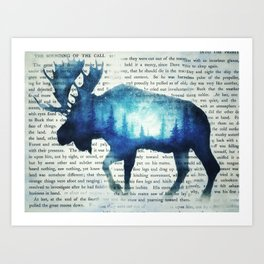 Double Exposure Moose | Night Sky Forest | Trees | Book Page | Vintage Art Art Print