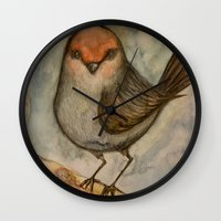 luigi Wall Clocks featuring Luigi bird by Sam Wallis Illustration