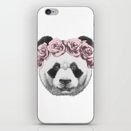 Portrait of Panda with floral head wreath. iPhone Skin