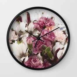 Pale pink florals Wall Clock