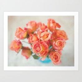 Roses in Blue Vase Art Print