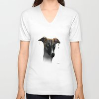 greyhound V-neck T-shirts featuring Greyhound BW by Marlene Watson