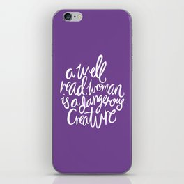 Well Read Woman - Feminist Nerd Girl Quote - White Purple iPhone Skin