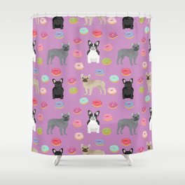 French Bulldog donuts cute dog breed must have gifts for frenchie owners Shower Curtain