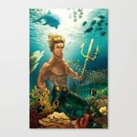 aquaman Canvas Prints featuring Aquaman Black Lagoon (Dark Water Version)  by Brian Hollins art