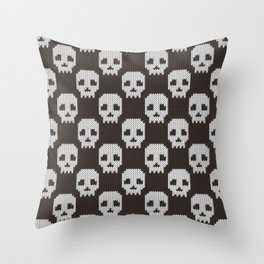 Knitted skull pattern Throw Pillow