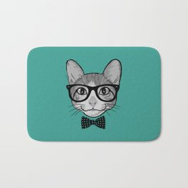 Cat Hipster with Polka Dots Bow Tie Bath Mat