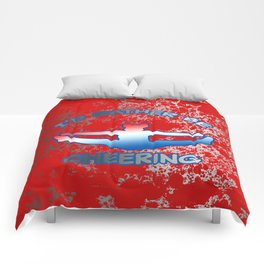 I'd Rather Be Cheering-on Red with Silver Flakes Design Comforters