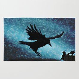 Descent of the Midnight Rook Rug