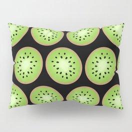 Kiwi Pattern  |  Black Background Pillow Sham