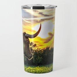 Illuminated Longhorn Sunset Travel Mug