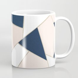 Navy Blue Blush White Gold Geometric Glam #1 #geo #decor #art #society6 Coffee Mug