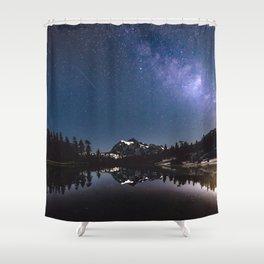 Summer Stars - Galaxy Mountain Reflection - Nature Photography Shower Curtain