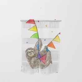 Sloth with Bunting #3 Wall Hanging