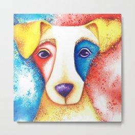 Dog Jack Russell Terrier JRT Original Art Confetti Metal Print