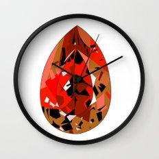 GEMS - red , velvet , orange , rubin Wall Clock